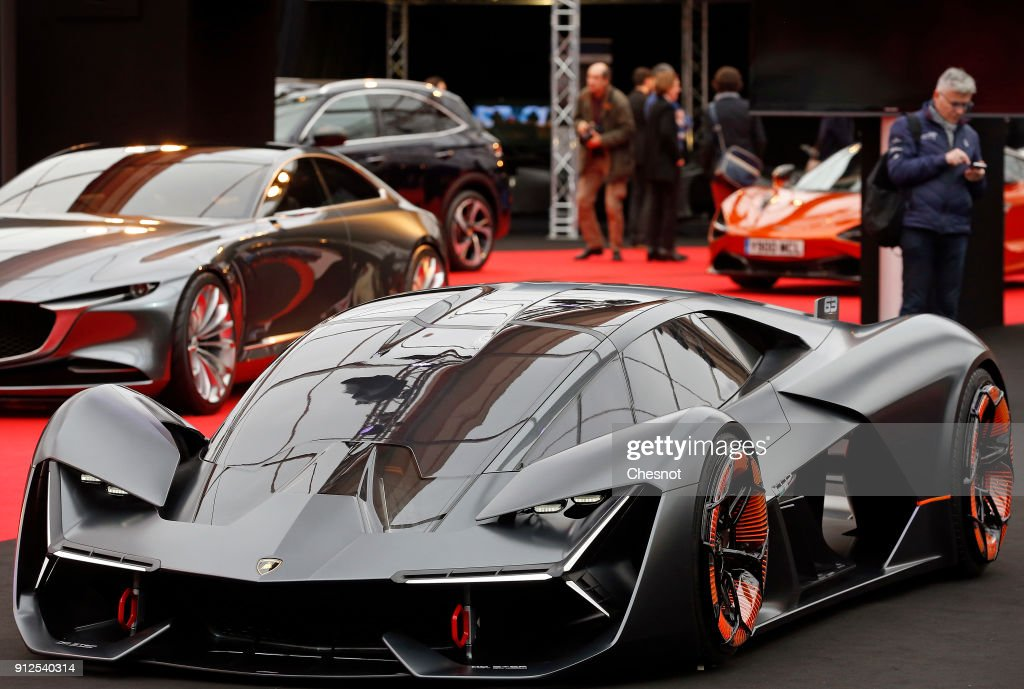 A Lamborghini Terzo Millennio Concept Car Is On Display During The