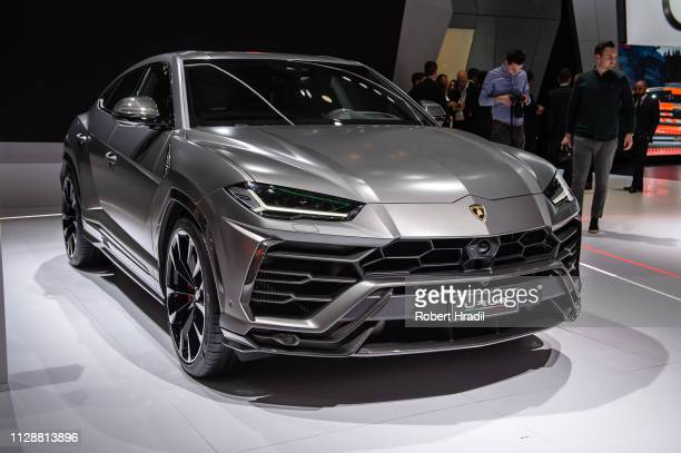 Lamborghini Urus is displayed during the second press day at the 89th Geneva International Motor Show on March 5 2019 in Geneva Switzerland
