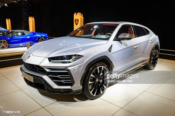 Lamborghini Urus luxury performance SUV car on display at Brussels Expo on JANUARY 08 2020 in Brussels Belgium The Urus is powered by a 641 hp40 L...