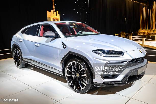 Lamborghini Urus luxury performance SUV car on display at Brussels Expo on January 8, 2020 in Brussels, Belgium. The Urus is powered by a 641 hp4.0 L...