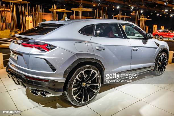 Lamborghini Urus luxury performance SUV car on display at Brussels Expo on January 8 2020 in Brussels Belgium The Urus is powered by a 641 hp40 L...