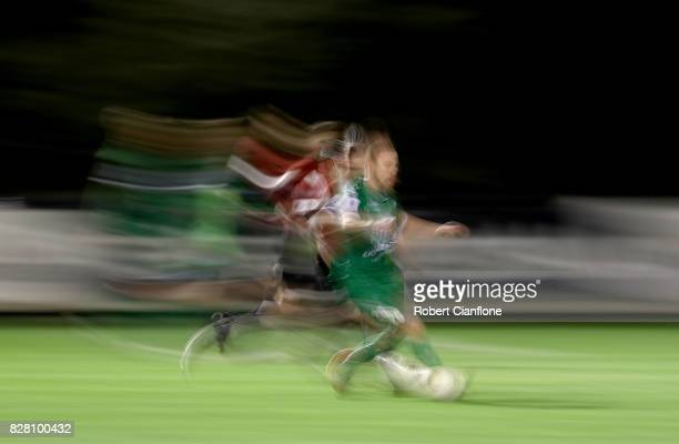 Lambros Honos of Bentleigh Greens runs with the ball during the FFA Cup round of 32 match between Hume City FC and Bentleigh Greens at John Iilhan...