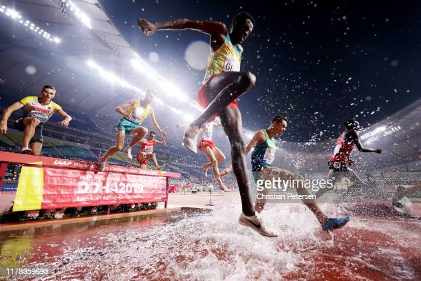 Lamecha Girma of Ethiopia competes in the Men's 3000 Metres Steeplechase heats during day five of 17th IAAF World Athletics Championships Doha 2019...