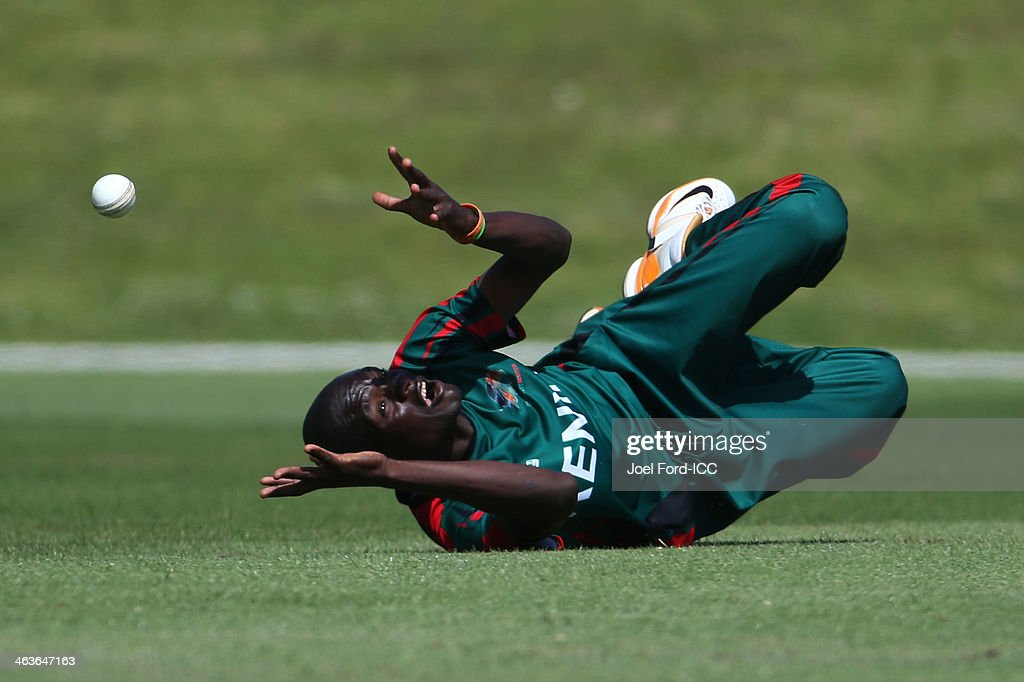 Lameck Onyango of Kenya drops a catch during an ICC World Cup qualifying match against Uganda on January 19, 2014 in Mount Maunganui, New Zealand.