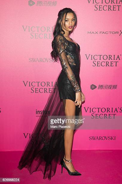 Lameka Fox attends '2016 Victoria's Secret Fashion Show' after show photocall at Le Grand Palais on November 30 2016 in Paris France