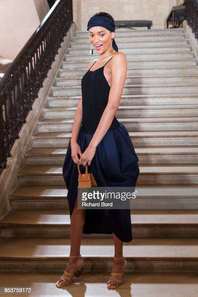 Lameka Fox poses on the runway during the Jacquemus show at Picasso Museum as part of the Paris Fashion Week Womenswear Spring/Summer 2018 on...