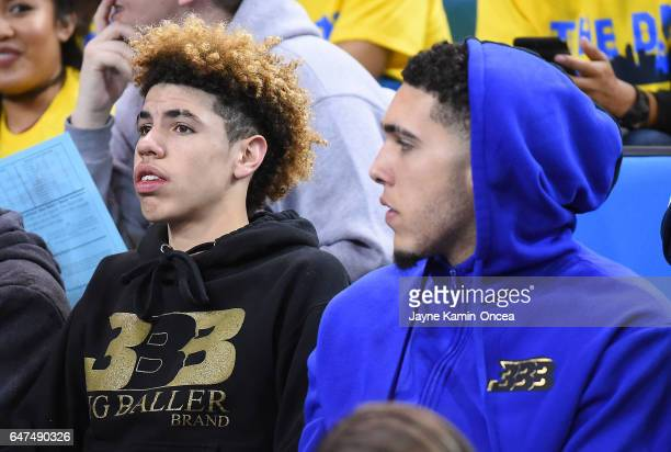 LaMelo and LiAngelo Ball attend the game between the UCLA Bruins and the Washington Huskies at Pauley Pavilion on March 1 2017 in Los Angeles...