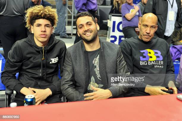 LaMelo Ball and LaVar Ball attend a basketball game between the Los Angeles Clippers and the Los Angeles Lakers at Staples Center on November 27 2017...