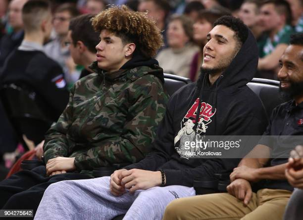 LaMelo Ball and LiAngelo Ball in action during the 2017/2018 Turkish Airlines EuroLeague Regular Season Round 17 game between Zalgiris Kaunas and...