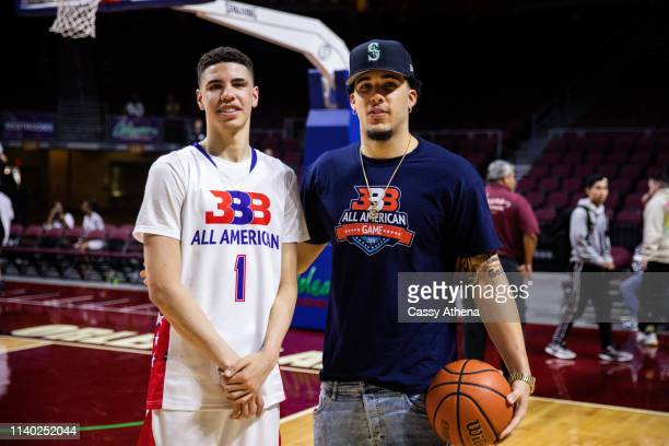 LaMelo Ball and LiAngelo Ball pose after the Big Baller Brand All American Game at the Orleans Arena on March 31, 2019 in Las Vegas, Nevada.