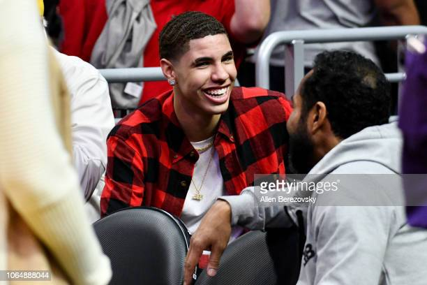 LaMelo Ball attends a basketball game between the Los Angeles Lakers and and the Minnesota Timberwolves at Staples Center on November 07 2018 in Los...