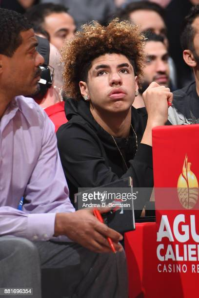 LaMelo Ball attends the Los Angeles Lakers game against the LA Clippers on November 27 2017 at STAPLES Center in Los Angeles California NOTE TO USER...