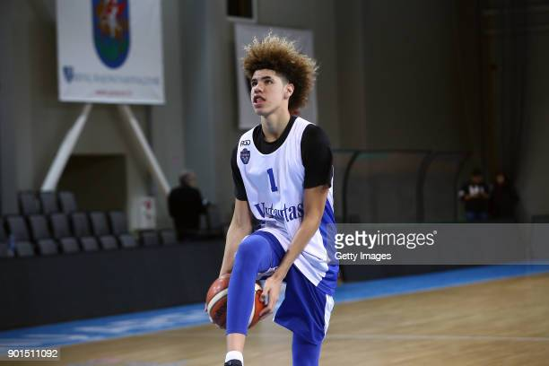 LaMelo Ball during his first training session with Lithuania Basketball team Vytautas Prienai on January 5 2018 in Prienai Lithuania
