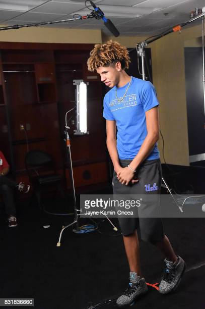 LaMelo Ball films a TV at the BIG3 at Staples Center on August 13 2017 in Los Angeles California