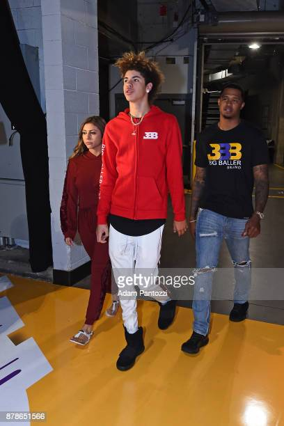 LaMelo Ball is seen before the game between the Los Angeles Lakers and the Detroit Pistons on October 31 2017 at STAPLES Center in Los Angeles...