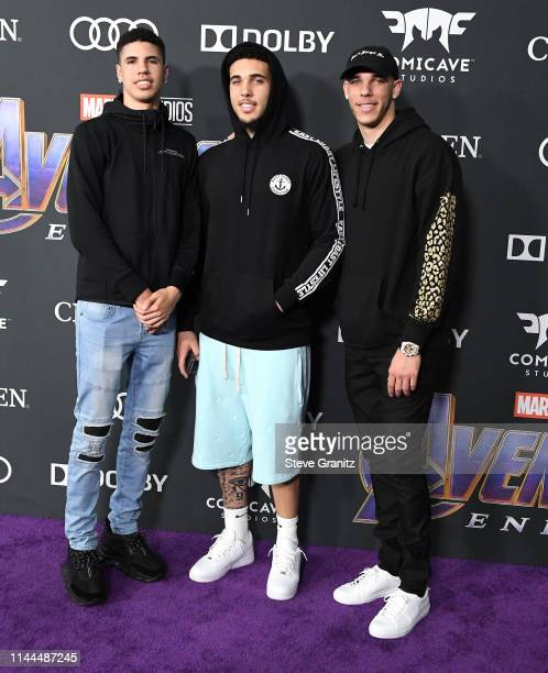 """LaMelo Ball, Liangelo Ball and Lonzo Ball arrives at the world premiere Of Walt Disney Studios Motion Pictures """"Avengers: Endgame"""" at Los Angeles..."""