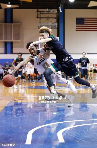 LaMelo Ball of Chino Hills High School and Gianni Hunt of Bishop Montgomery High School fight for possession of the ball during the first play of the...