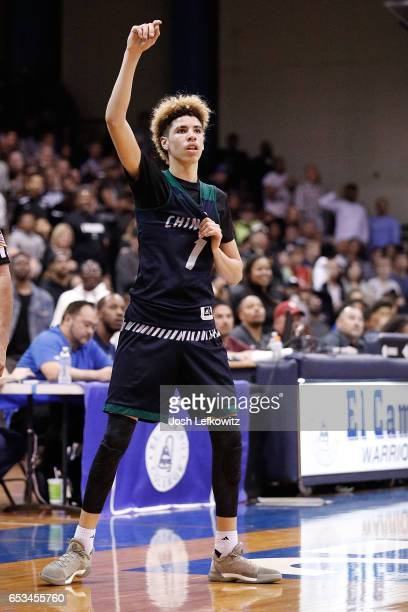 LaMelo Ball of Chino Hills High School calls for the ball during the game against Bishop Montgomery High School at El Camino College on March 14 2017...
