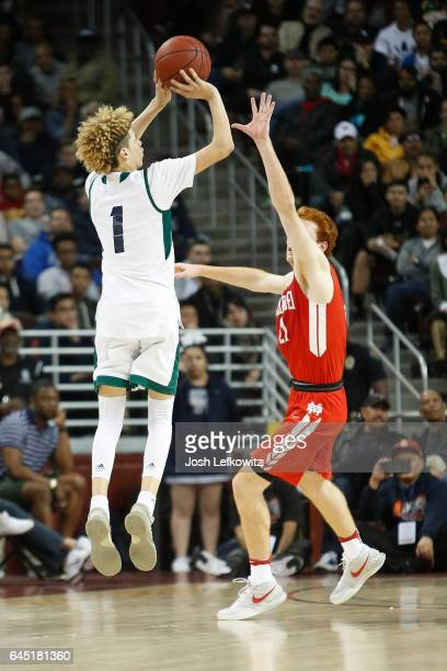 Lamelo Ball of Chino Hills High School shoots a threepointer during the game against Mater Dei High School at the Galen Center on February 24 2017 in...
