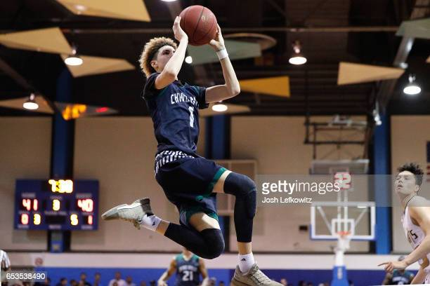 LaMelo Ball of Chino Hills High School shoots the ball during the game against Bishop Montgomery High School at El Camino College on March 14 2017 in...