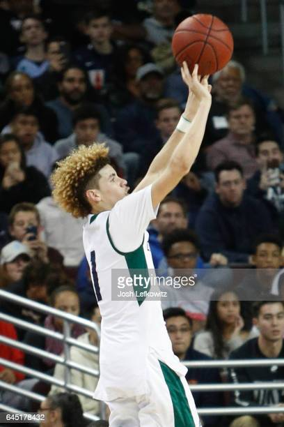 Lamelo Ball of Chino Hills High School shoots the threepointer during the game against Mater Dei High School at the Galen Center on February 24 2017...