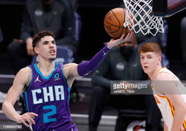 LaMelo Ball of the Charlotte Hornets attempts a lay up during the third quarter of their game against the Atlanta Hawks at Spectrum Center on January...