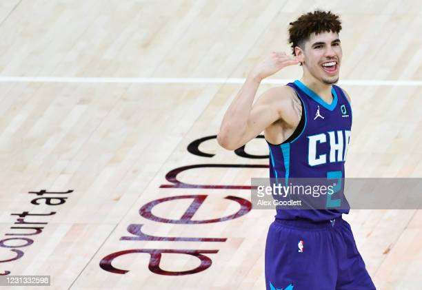 LaMelo Ball of the Charlotte Hornets celebrates a play during a game against the Utah Jazz at Vivint Smart Home Arena on February 22, 2021 in Salt...