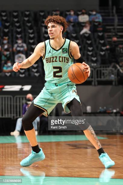 LaMelo Ball of the Charlotte Hornets dribbles the ball against the LA Clippers on May 13, 2021 at Spectrum Center in Charlotte, North Carolina. NOTE...