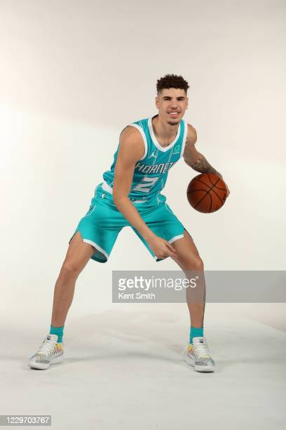 LaMelo Ball of the Charlotte Hornets dribbles the ball during a portrait session at the Spectrum Center on November 20 in Charlotte North Carolina...