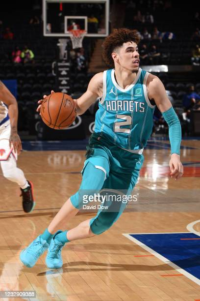 LaMelo Ball of the Charlotte Hornets drives to the basket during the game against the New York Knicks on May 15, 2021 at Madison Square Garden in New...
