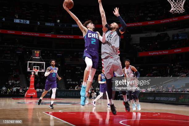 LaMelo Ball of the Charlotte Hornets dunks the ball during the game against the Washington Wizards on May 16, 2021 at Capital One Arena in...