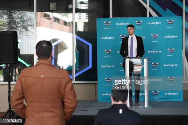 LaMelo Ball of the Charlotte Hornets during a press conference at Spectrum Center on November 20 in Charlotte North Carolina NOTE TO USER User...