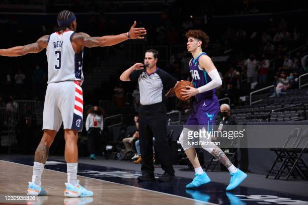 LaMelo Ball of the Charlotte Hornets handles the ball during the game against Bradley Beal of the Washington Wizards on May 16, 2021 at Capital One...