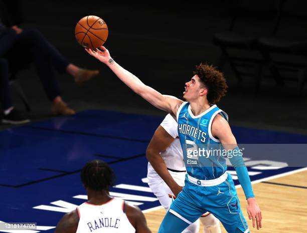 LaMelo Ball of the Charlotte Hornets heads for the net in the second quarter at Madison Square Garden on May 15, 2021 in New York City.NOTE TO USER:...