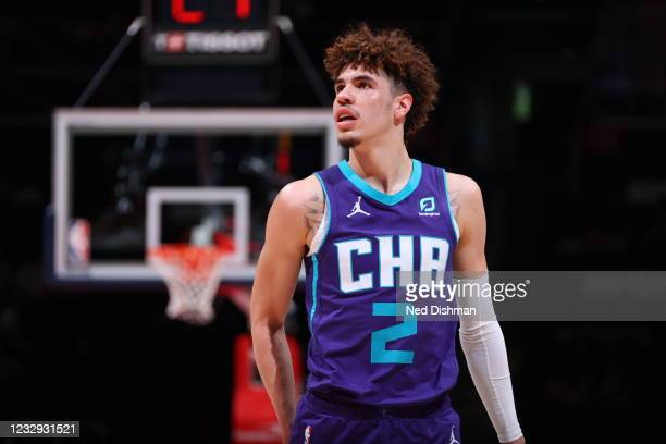 LaMelo Ball of the Charlotte Hornets looks on during the game against the Washington Wizards on May 16, 2021 at Capital One Arena in Washington, DC....