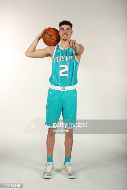 LaMelo Ball of the Charlotte Hornets poses for a portrait at the Spectrum Center on November 20 in Charlotte North Carolina NOTE TO USER User...