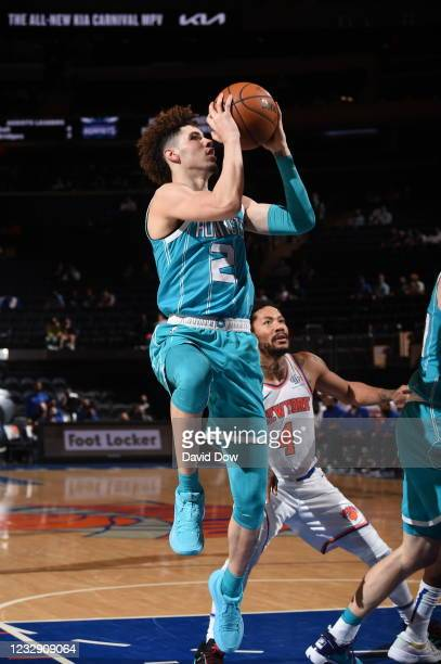 LaMelo Ball of the Charlotte Hornets shoots the ball during the game against the New York Knicks on May 15, 2021 at Madison Square Garden in New York...
