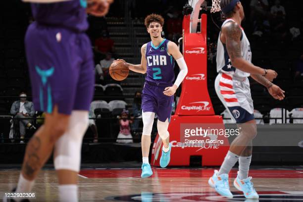 LaMelo Ball of the Charlotte Hornets smiles during the game against the Washington Wizards on May 16, 2021 at Capital One Arena in Washington, DC....