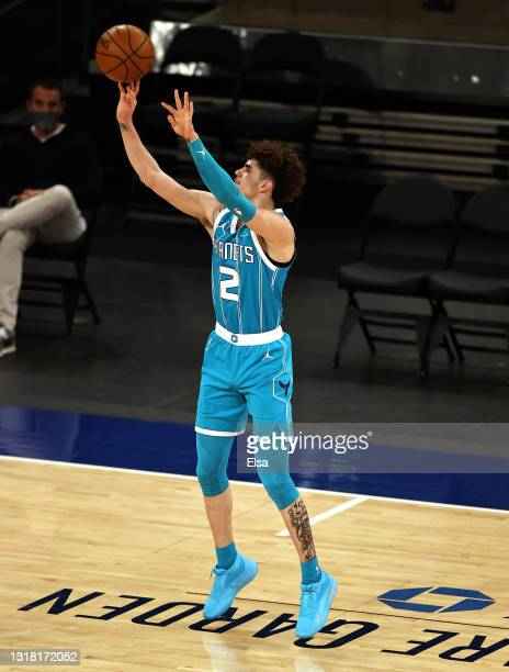 LaMelo Ball of the Charlotte Hornets takes a shot in the first quarter against the New York Knicks at Madison Square Garden on May 15, 2021 in New...
