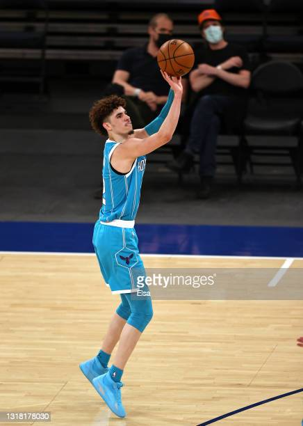 LaMelo Ball of the Charlotte Hornets takes a shot in the third quarter against the New York Knicks at Madison Square Garden on May 15, 2021 in New...