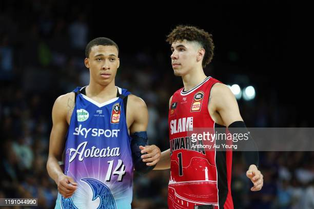 LaMelo Ball of the Hawks and RJ Hampton of the Breakers during the round 9 NBL match between the New Zealand Breakers and the Illawarra Hawks at...