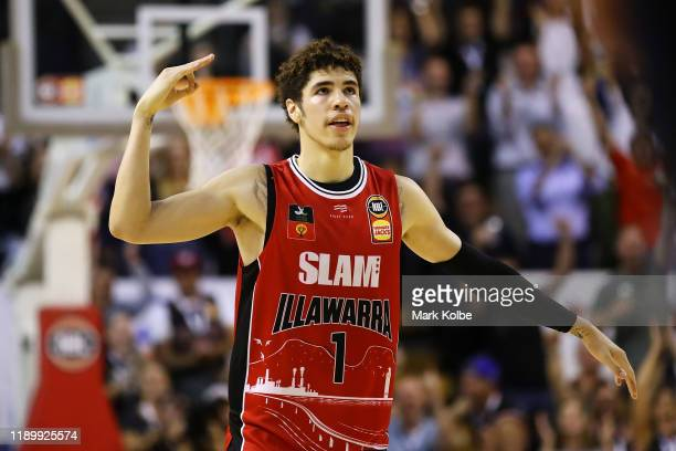 Lamelo Ball of the Hawks celebrates hitting a three point shot late in the final quarter during the round 8 NBL match between the Illawarra Hawks and...