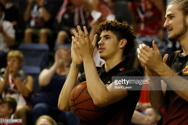 LaMelo Ball of the Hawks cheers his team on during the round 13 NBL match between the Illawarra Hawks and the Sydney Kings at WIN Entertainment...