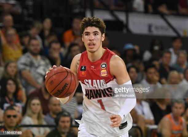 LaMelo Ball of the Hawks dribbles the ball during the round six NBL match between the Cairns Taipans and the Illawarra Hawks at the Cairns Convention...