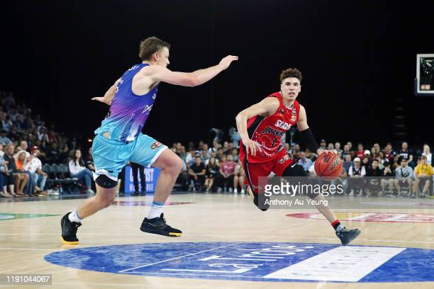 LaMelo Ball of the Hawks drives against Finn Delany of the Breakers during the round 9 NBL match between the New Zealand Breakers and the Illawarra...