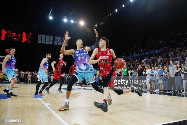 LaMelo Ball of the Hawks drives against RJ Hampton of the Breakers during the round 9 NBL match between the New Zealand Breakers and the Illawarra...
