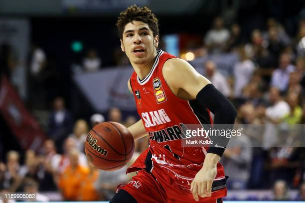 Lamelo Ball of the Hawks drives to the basket during the round 8 NBL match between the Illawarra Hawks and the Cairns Taipans at WIN Entertainment...