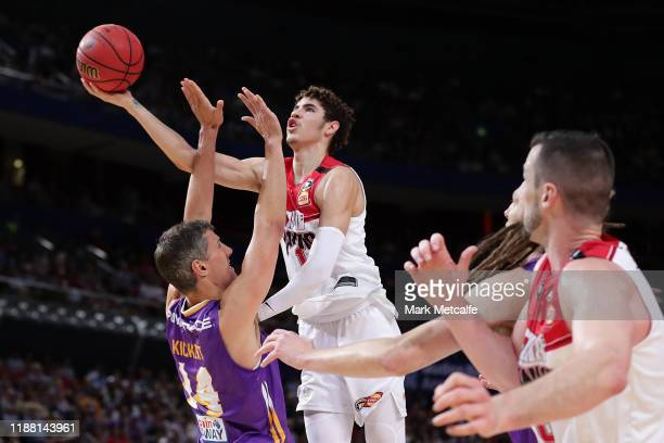 LaMelo Ball of the Hawks drives to the basket during the round seven NBL match between the Sydney Kings and the Illawarra Hawks at Qudos Bank Arena...