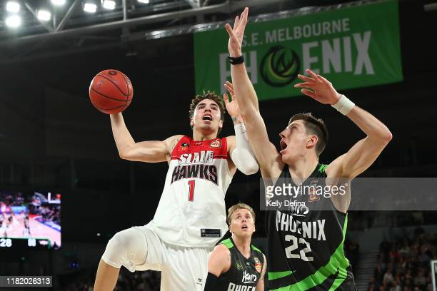 LaMelo Ball of the Hawks drives to the basket during the round three NBL match between the South East Melbourne Phoenix and the Illawarra Hawks on...