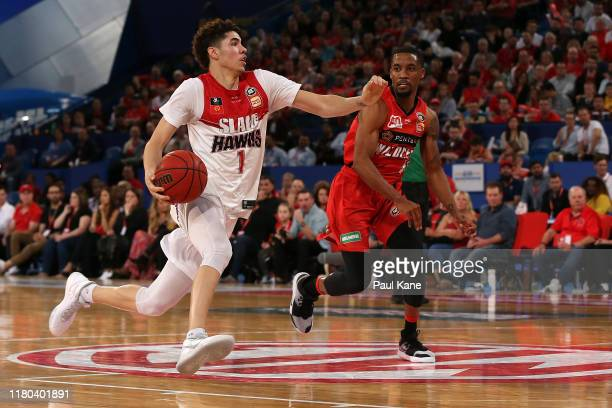 LaMelo Ball of the Hawks drives to the basket during the round two NBL match between the Perth Wildcats and the Illawarra Hawks at RAC Arena on...